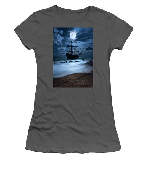 Black Pearl Pirate Ship Landing Under Full Moon Women's T-Shirt (Athletic Fit)