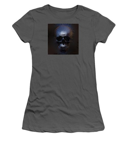 Women's T-Shirt (Junior Cut) featuring the digital art Black Skull by Vitaliy Gladkiy