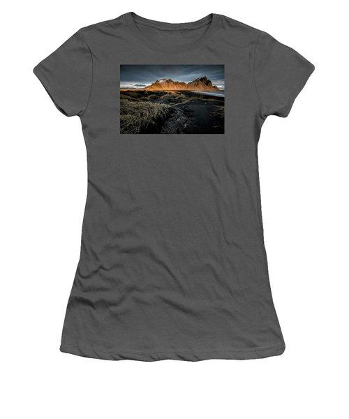 Blackbeach And Vestrahorn Women's T-Shirt (Junior Cut) by Allen Biedrzycki