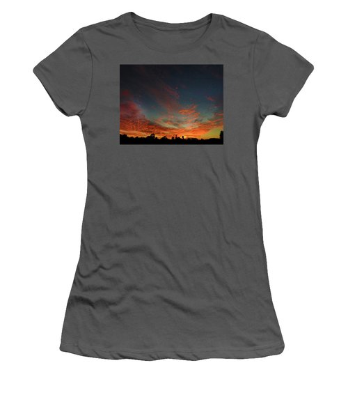 Women's T-Shirt (Athletic Fit) featuring the photograph Blazing Sunset by Mark Blauhoefer