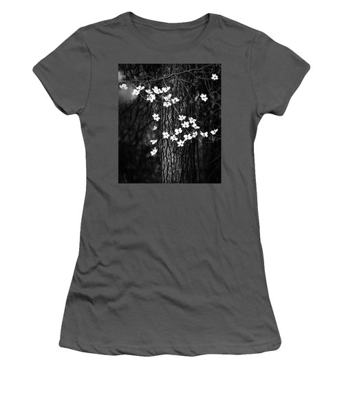 Blooming Dogwoods In Yosemite Black And White Women's T-Shirt (Athletic Fit)