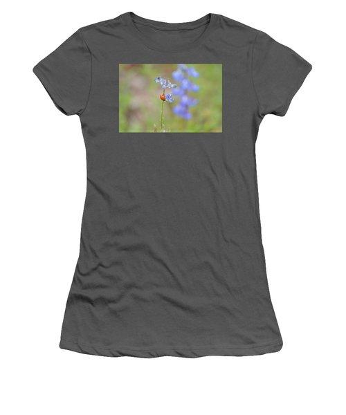Women's T-Shirt (Junior Cut) featuring the photograph Blue Bonnets And A Lady Bug by Carolina Liechtenstein