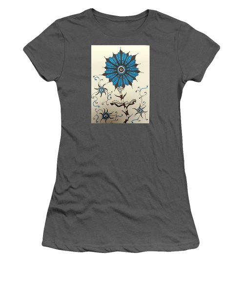 Blue Flower 1 Women's T-Shirt (Athletic Fit)