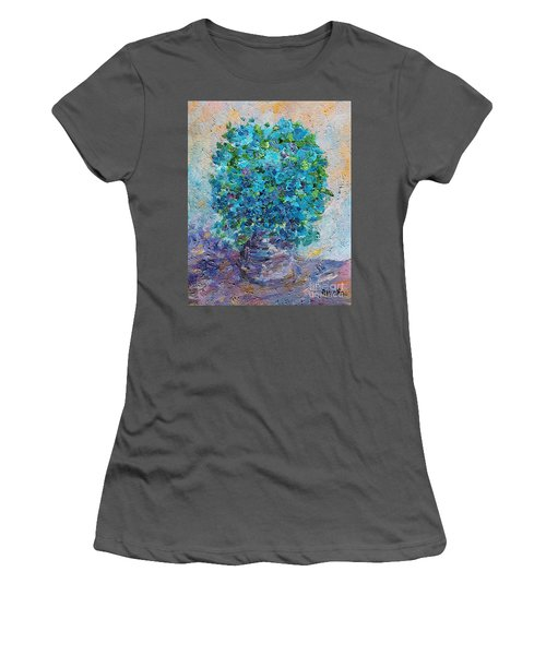 Blue Flowers In A Vase Women's T-Shirt (Athletic Fit)