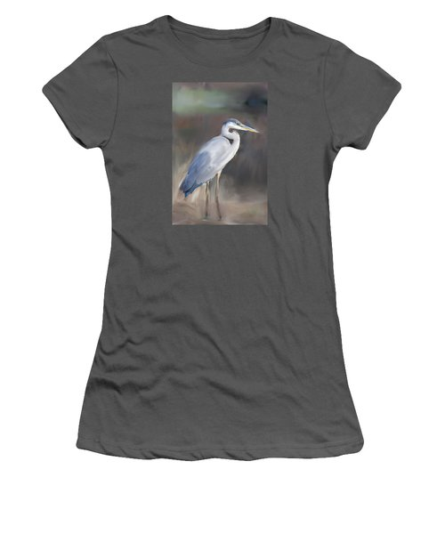 Blue Heron Painting  Women's T-Shirt (Athletic Fit)