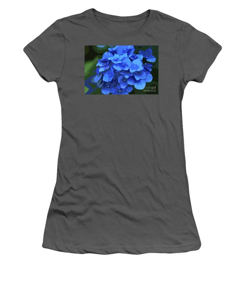 Blue Hydrangea Stylized Women's T-Shirt (Athletic Fit)