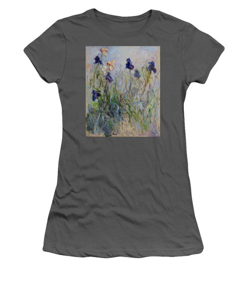 Blue Irises In The Field, Painted In The Open Air  Women's T-Shirt (Junior Cut) by Pierre Van Dijk