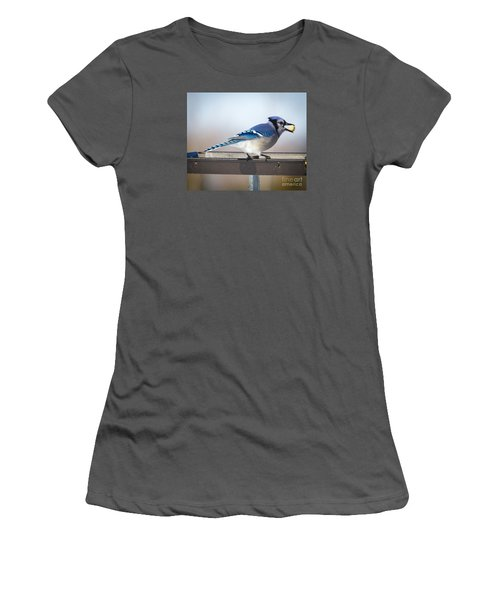 Women's T-Shirt (Junior Cut) featuring the photograph Blue Jay With A Mouth Full by Ricky L Jones