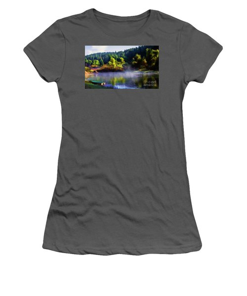 Blue Lake Spring Misty Geese  Women's T-Shirt (Athletic Fit)