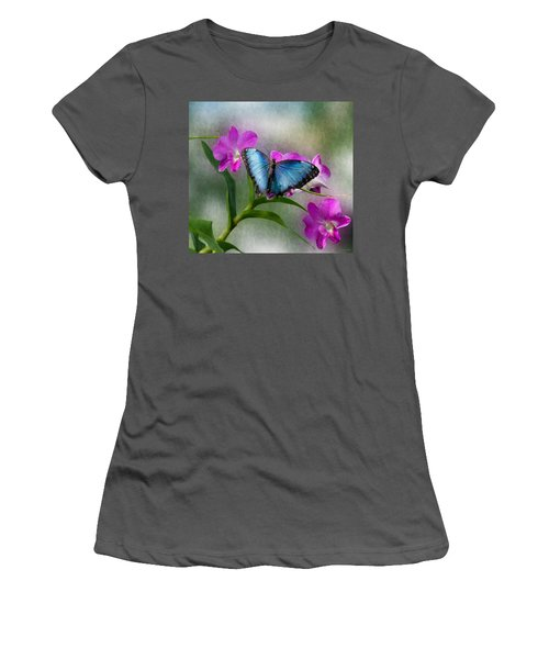 Blue Morpho With Orchids Women's T-Shirt (Athletic Fit)
