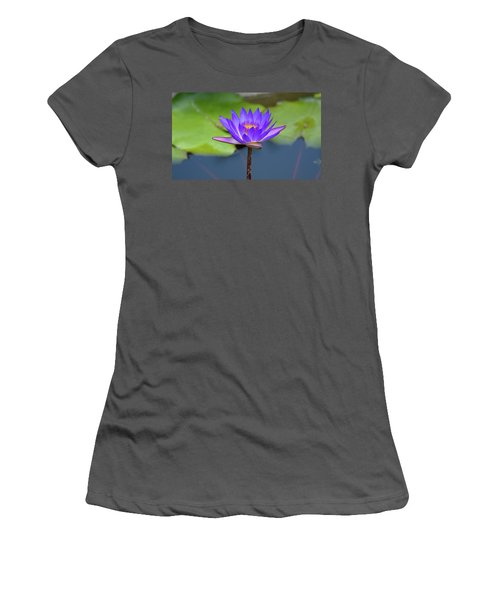 Blue Purple And Orange Water Lily Women's T-Shirt (Athletic Fit)