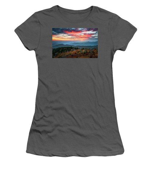 Blue Ridge Parkway Autumn Sunset Scenic Landscape Asheville Nc Women's T-Shirt (Athletic Fit)