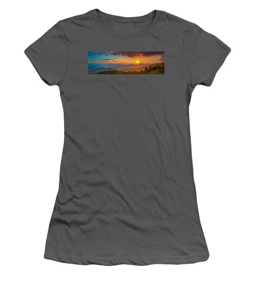 Blue Ridge Sunset Pano Women's T-Shirt (Athletic Fit)