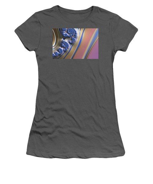 Women's T-Shirt (Junior Cut) featuring the digital art Blue Swirly Fractal 2 by Bonnie Bruno