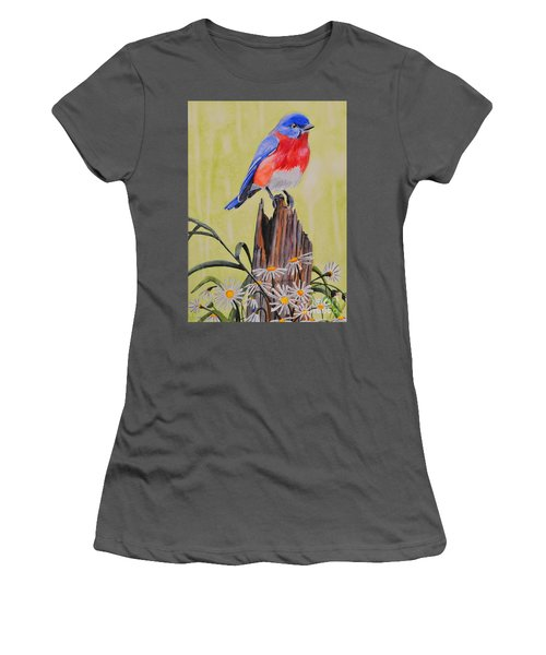 Bluebird And Daisies Women's T-Shirt (Athletic Fit)