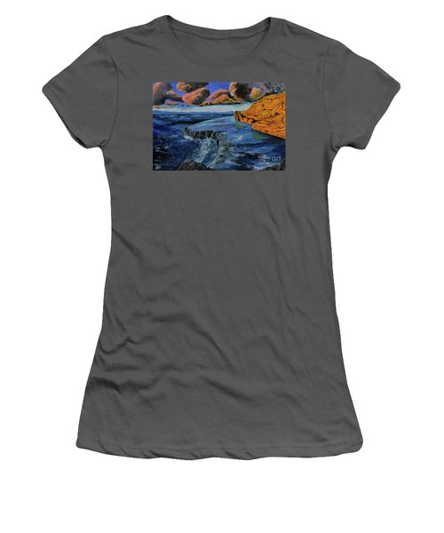 Blue,blue Ocean With Clouds Women's T-Shirt (Athletic Fit)