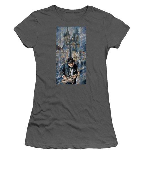 Blues Of Prague. Women's T-Shirt (Athletic Fit)