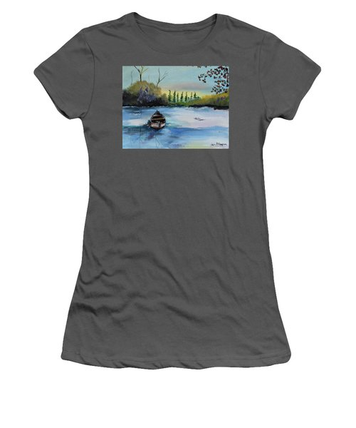 Women's T-Shirt (Athletic Fit) featuring the painting Boat Abandoned On The Lake by Jan Dappen