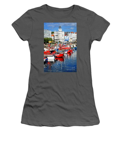 Boats In The Harbor - La Coruna Women's T-Shirt (Junior Cut) by Mary Machare