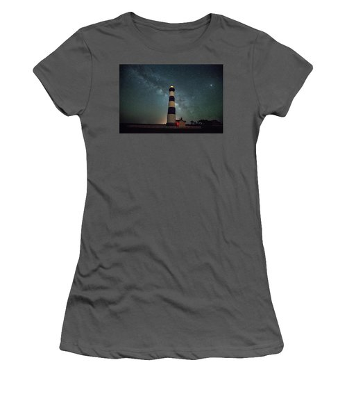 Bodie Lighthouse And Milky Way Women's T-Shirt (Athletic Fit)