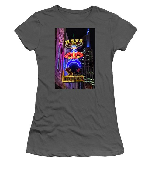 Boots And Hat Neon Sign Women's T-Shirt (Athletic Fit)