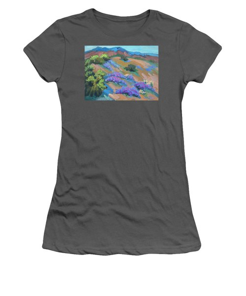 Women's T-Shirt (Junior Cut) featuring the painting Borrego Springs Verbena by Diane McClary