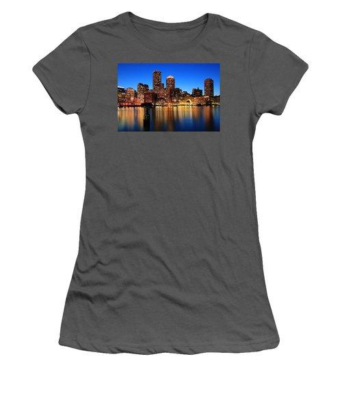 Boston Aglow Women's T-Shirt (Junior Cut) by Rick Berk