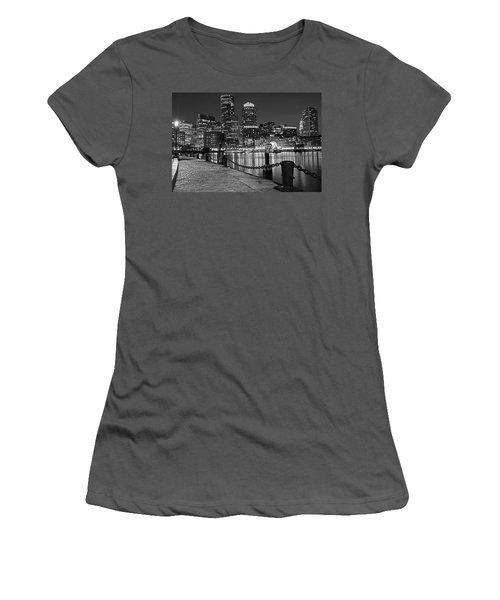 Boston Waterfront Boston Skyline Black And White Women's T-Shirt (Athletic Fit)