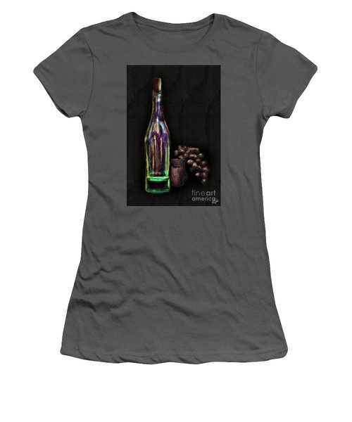 Women's T-Shirt (Junior Cut) featuring the photograph Bottle And Grapes by Walt Foegelle