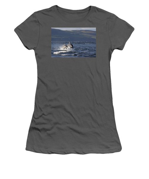 Bottlenose Dolphins Leaping - Scotland  #37 Women's T-Shirt (Athletic Fit)
