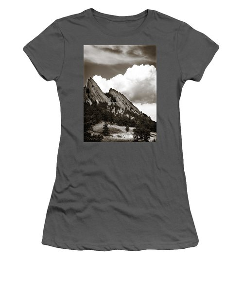 Large Cloud Over Flatirons Women's T-Shirt (Junior Cut) by Marilyn Hunt
