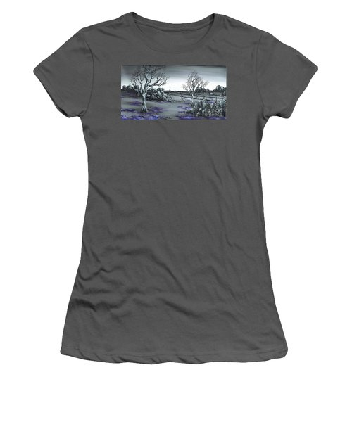 Women's T-Shirt (Junior Cut) featuring the painting Boundry Fence. by Kenneth Clarke