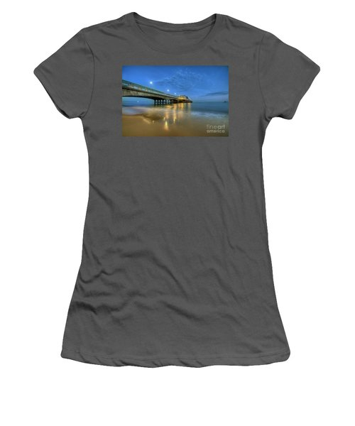 Women's T-Shirt (Junior Cut) featuring the photograph Bournemouth Pier Blue Hour by Yhun Suarez