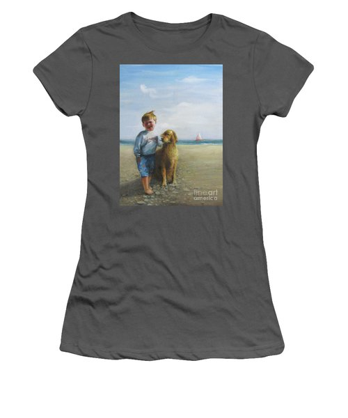 Women's T-Shirt (Junior Cut) featuring the painting Boy And His Dog At The Beach by Oz Freedgood