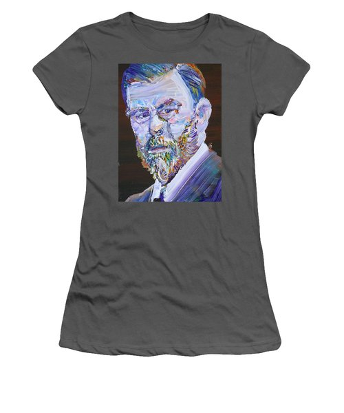 Women's T-Shirt (Junior Cut) featuring the painting Bram Stoker - Oil Portrait by Fabrizio Cassetta