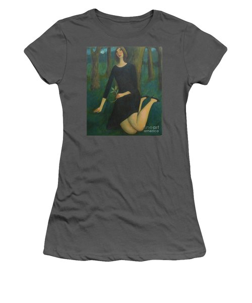 Women's T-Shirt (Junior Cut) featuring the painting Break In The Evening by Glenn Quist