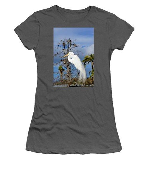 Breezy Egret Women's T-Shirt (Athletic Fit)