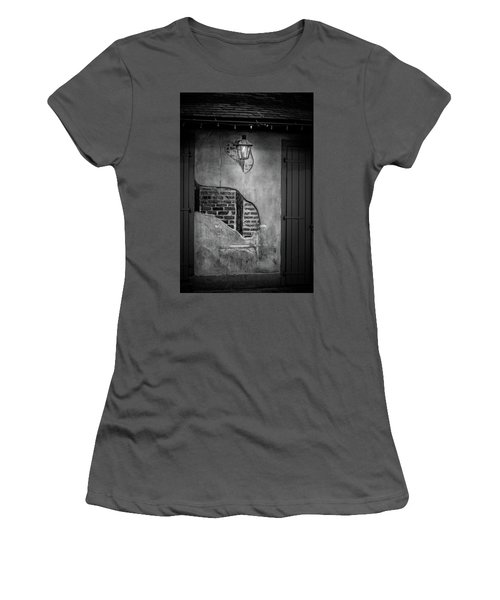 Bricks In The Wall In Black And White Women's T-Shirt (Athletic Fit)