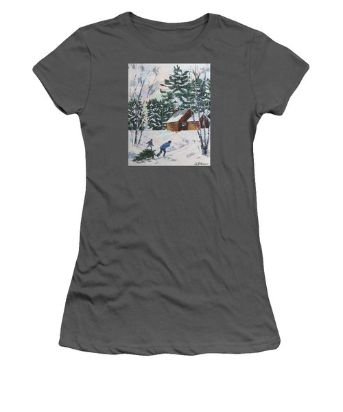 Bringing In The Tree Women's T-Shirt (Junior Cut) by David Gilmore
