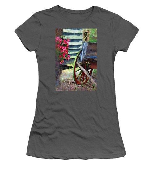 Women's T-Shirt (Junior Cut) featuring the photograph Broken Wagon by Donna Bentley
