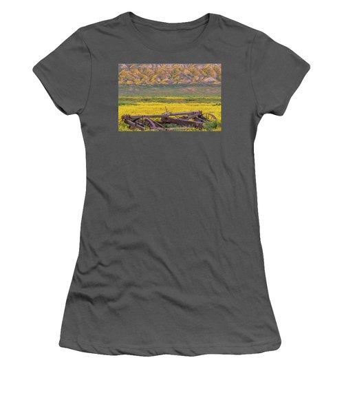 Women's T-Shirt (Junior Cut) featuring the photograph Broken Wagon In A Field Of Flowers by Marc Crumpler