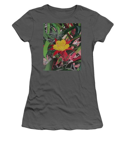 Women's T-Shirt (Junior Cut) featuring the painting Bromelaid And Airplant by Hilda and Jose Garrancho