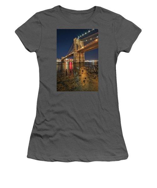 Brooklyn Bridge At Night Women's T-Shirt (Athletic Fit)