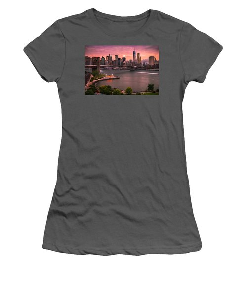 Women's T-Shirt (Junior Cut) featuring the photograph Brooklyn Bridge Over New York Skyline At Sunset by Ranjay Mitra