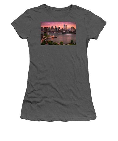 Brooklyn Bridge Over New York Skyline At Sunset Women's T-Shirt (Junior Cut) by Ranjay Mitra
