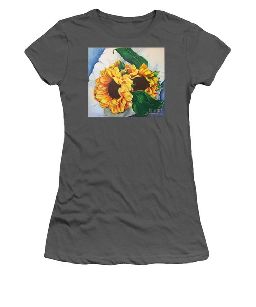 Women's T-Shirt (Junior Cut) featuring the painting Brooklyn Sun by Angela Armano