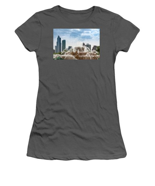 Buckingham Fountain In Chicago Women's T-Shirt (Athletic Fit)