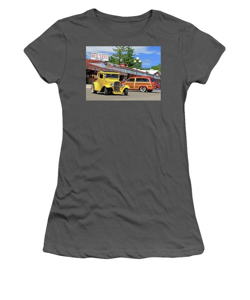 Women's T-Shirt (Junior Cut) featuring the photograph Bud Tent Hot Rods by Christopher McKenzie