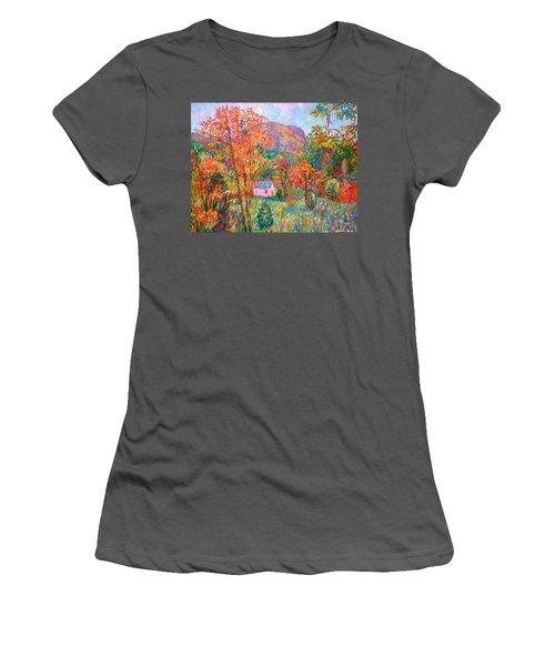 Women's T-Shirt (Junior Cut) featuring the painting Buffalo Mountain In Fall by Kendall Kessler