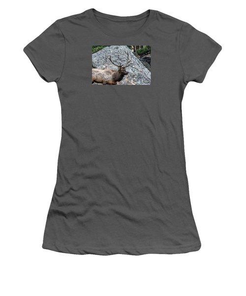 Women's T-Shirt (Junior Cut) featuring the photograph Bull Elk Granite Moss Rock by Stephen  Johnson